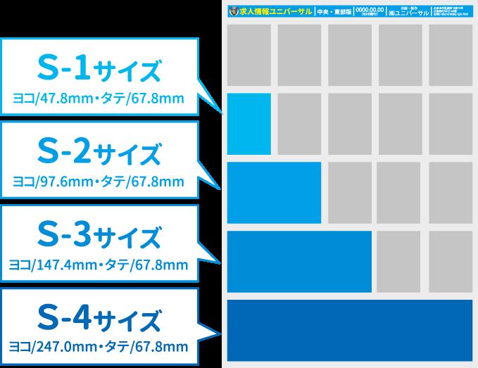 S-1サイズヨコ/47.8mm・タテ/67.8mm・S-2サイズヨコ/97.6mm・タテ/67.8mm・S-3ヨコ/147.4mm・タテ/67.8mm・S-4ヨコ/247.0mm・タテ/67.8mm